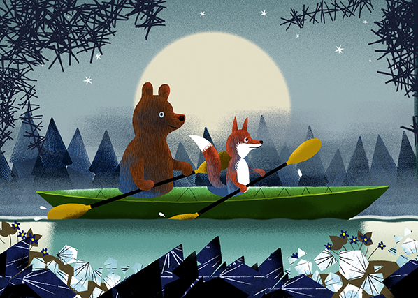 Bear and Fox kayaking postcard