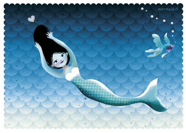 Mermaid with heart postcard